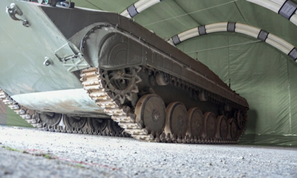 Inflatable Hall with armoured personnel carrier