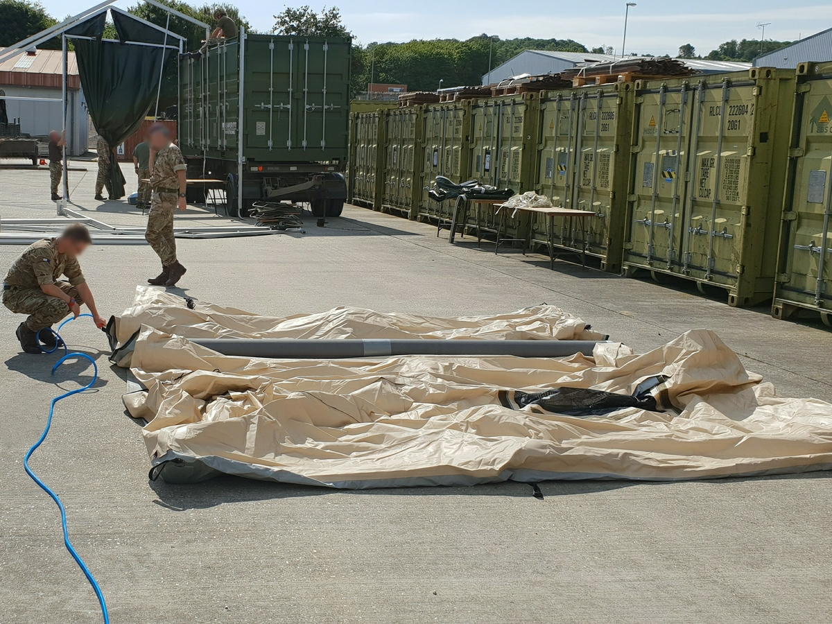 NIXUS ERA Inflatable Military Shelter being erected by UK Military